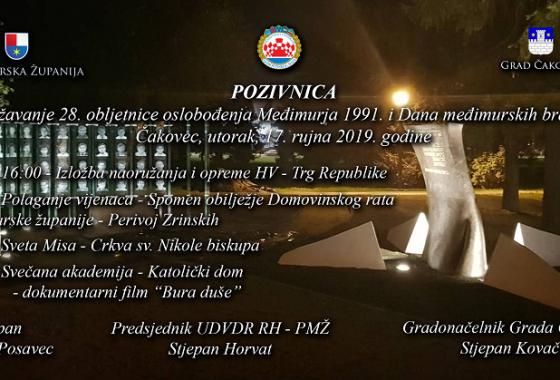Poziv na proslavu 28. obljetnice oslobođenja Međimurja i Dana Međimurskih branitelja